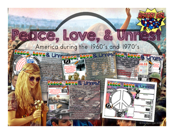 Peace, Love, & Unrest: 1960's & 1970's PowerPoint and Stud