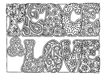 shelly beauchamp zen tangles coloring pages | Peace & Love Zentangle Coloring Page by Pamela Kennedy | TpT