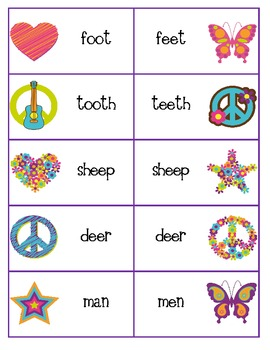 Peace, Love and Irregular Plural Nouns card game or match it game