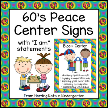 Peace, Love and Learning Themed Center Signs