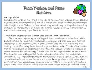 Peace Makers and Peace Breakers: Behavior System for a Peaceful Classroom!