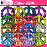 Peace Sign Clip Art {Rainbow Glitter Retro Graphics for Brag Tags & Awards}