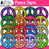 Peace Sign Clip Art | Rainbow Glitter Retro Graphics for Classroom Deco & Awards