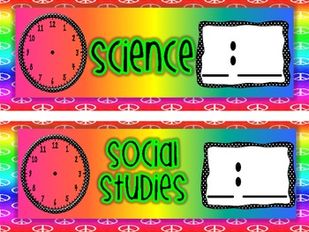Peace Themed Classroom Schedule Cards