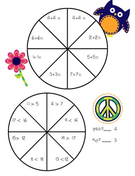 Peace Themed Math Spinners:doubles addition and inequalities