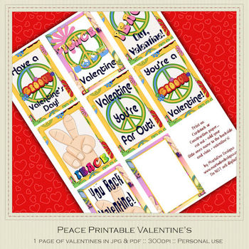 Peace Themed Printable Valentine's