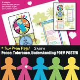 Peace Tolerance Understanding *2 Poems Poster Classroom Bulletin Board Bundle