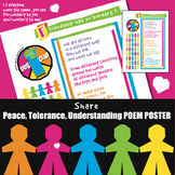 Peace Tolerance Harmony Understanding Poster Classroom Bulletin Board