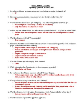 Peace Without Conquest (LBJ and Vietnam) Document and Questions