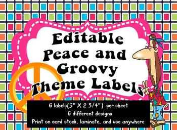 Peace and Groovy Theme Labels *editable*