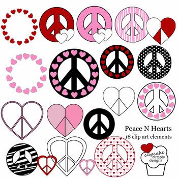 Peace and Hearts Digital Fun Clip Art Illustrations Digital Graphics -Commercial