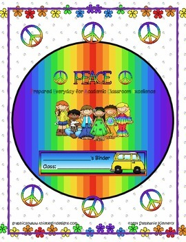 Peace and Hippie {Groovy or Retro} Binder Cover