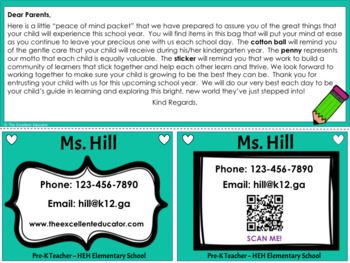 Peace of Mind Parent Packs and Contact Cards
