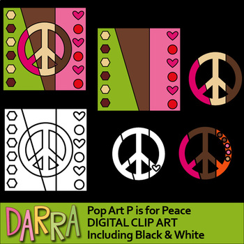 Peace sign clipart - P is for peace - interactive pop art clip art