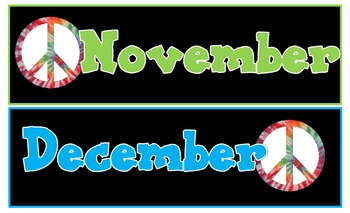Peace,Love, and Learning Calendar Headings