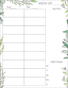 Peaceful Plants Teacher Planner 2018-2019 (Weekly/Monthly)