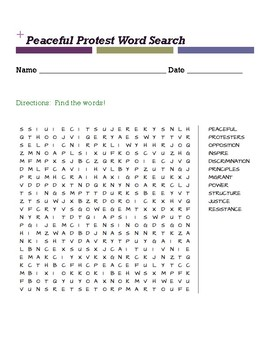Peaceful Protest Word Search
