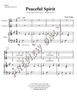 Peaceful Spirit - Clarinet (Includes Full Performance and Piano Acc. mp3)