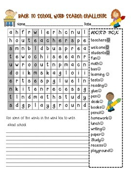 Back to School Wordsearch and Peacemaker Game
