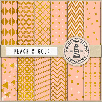Peach And Gold Digital Paper, Gold Patterns, Peach Backgrounds