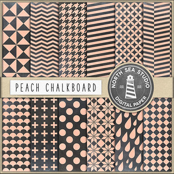 Chalkboard Background, Peach Chalkboard Digital Paper