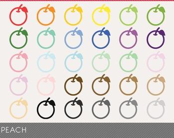 Peach Digital Clipart, Peach Graphics, Peach PNG, Rainbow Peach Digital Files