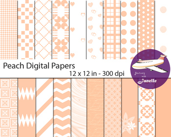 Peach Digital Papers for Backgrounds, Scrapbooking and Cla