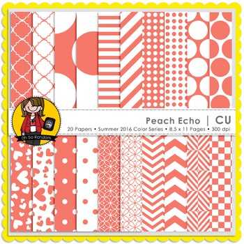 Peach Echo Digital Papers {CU}