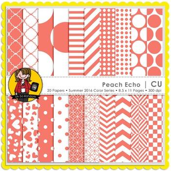 Peach Echo Digital Papers {CU}