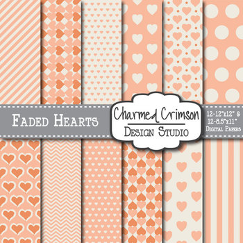 Peach Faded Heart Digital Paper 1315