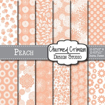 Peach Floral Digital Paper 1442