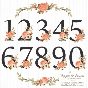 Peach Floral Numbers With Vectors - Flower Clip Art, Peonies Clipart, Poppies