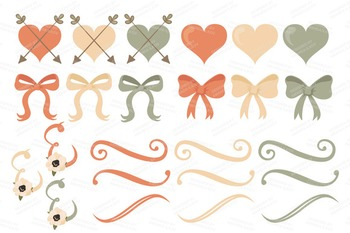 Peach Floral Wedding Bicycle Vectors - Flower Clipart, Peonies Clip Art, Poppies