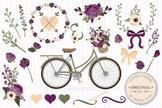 Deep Plum Floral Bicycle Vectors - Flower Clipart, Peonies Clip Art, Poppies
