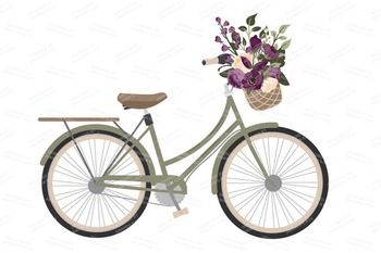 Deep Plum Floral Bicycle Vectors - Flower Clipart, Peonies Clip Art, Poppies