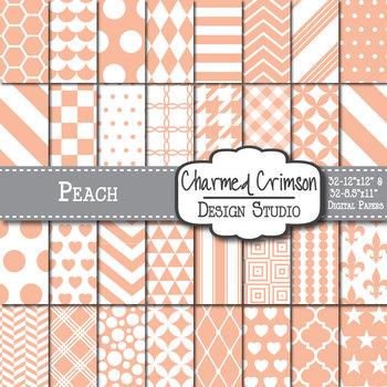 Peach Geometric Basic Digital Paper 1173