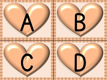 Peach Heart Alphabet Letter Flashcards Uppercase and Lowercase