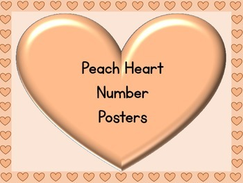 Peach Heart Full Page Number Posters 0-100