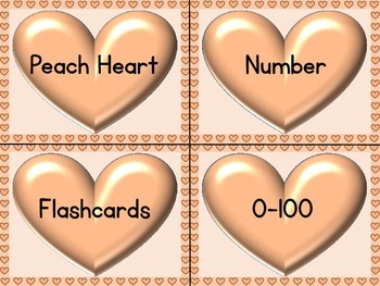 Peach Heart Number Flashcards 0-100