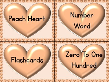 Peach Heart Number Word Flashcards Zero To One Hundred