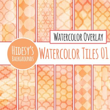 Peach / Orange / Pink Tiled Overlay Watercolor Digital Papers / Backgrounds Set