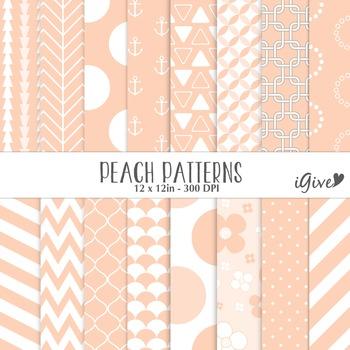 Peach Patterns Digital Paper