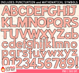 Peach Pink Letters and Numbers Clip Art