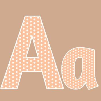 Peach Polka Dot Alphabet Clip Art + Numerals, Punctuation and Math Symbols