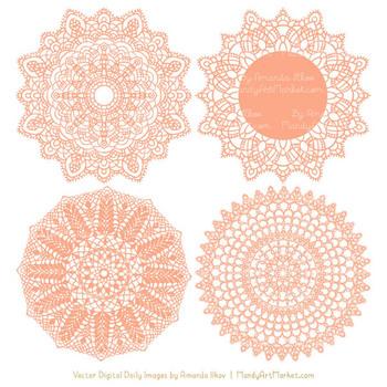 Peach Round Lace Doilies - Lace Doily, Vintage Doilies