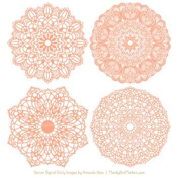 Anna Lace Peach Doily Vectors - Doily Clipart Images, Digital Doilies
