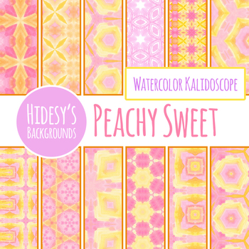 Peach Tones Watercolor Digital Papers / Backgrounds Clip Art Set Commercial Use