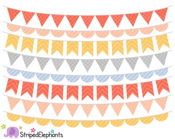 Peach, Yellow, Blue and Grey Bunting Clip Art