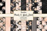 Peach and Black Floral Digital Paper