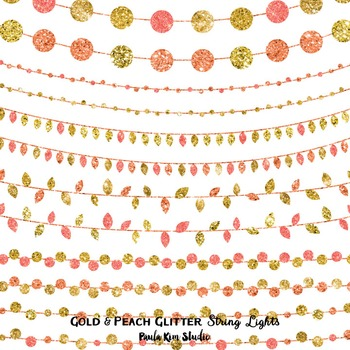 Peach and Gold Glitter String Lights